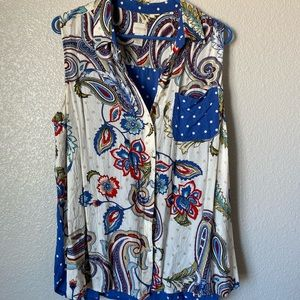 Chico's Multi Patterned Button Up Collar Top